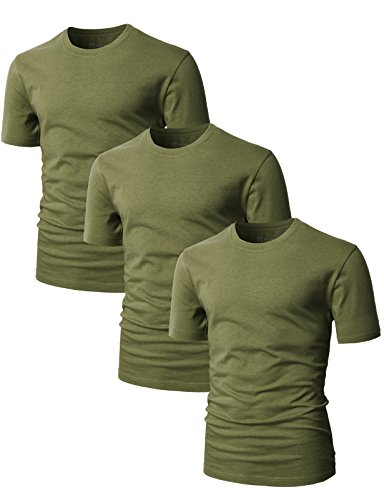 H2H Men's Slim Fit Cosy Touch To Skin Basic Crew-Neck T-Shirt OliveGreen US XS/Asia S - Us Online Shopping To India