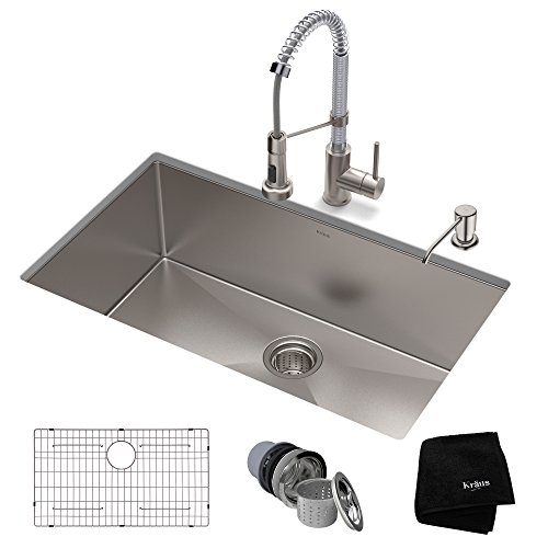(KRAUS KHU100-30-1610-53SSCH Set with Standart PRO Sink and Bolden Commercial Pull Faucet in Stainless Steel Chrome Kitchen Sink & Faucet Combo, 30)