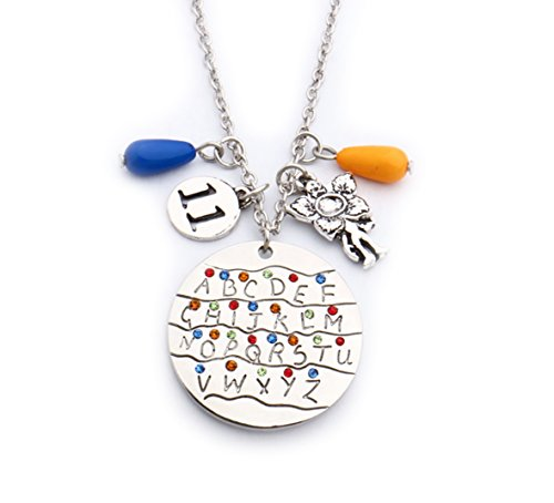 Stranger Things Necklace- ABCD Necklace-Premium Quality Movie Jewelry Collection-Stranger Things Themed Charms Pendant Necklaces Eleven (Halloween Themed Items)