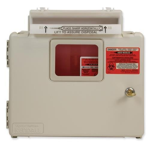 Covidien SWMU100609 Biohazard Wall Cabinet for Sharp Objects w/Lid 5 Quart