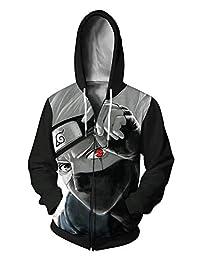 AMOMA Unisex Anime Full Zip Hoodie Naruto Kakashi My Hero Academia 3D Printed Zipper Hooded Sweatshirt
