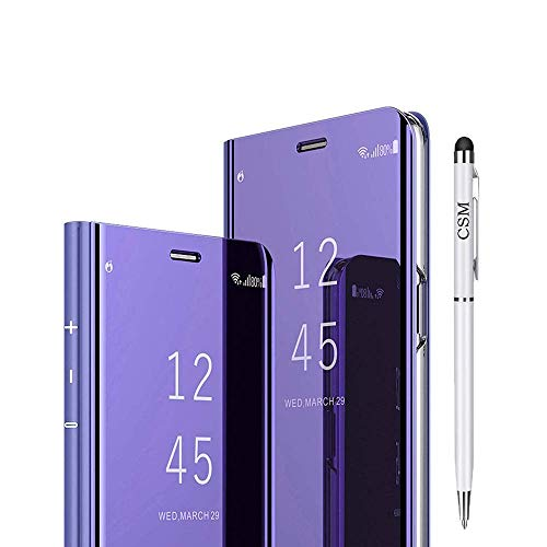 C-Super Mall Case for OnePlus 7 Pro/One Plus 7 Pro (1+7 Pro), Luxury Translucent View Mirror Flip Electroplate Stand Smart - Pen Violet Translucent