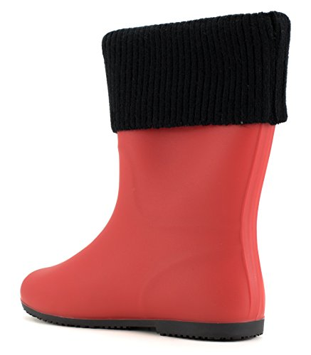 Red Rain Boot Black Able Removable and Cuff Waterproof Avanti Knitted Storm With Monogram Foldable TUqwTH1