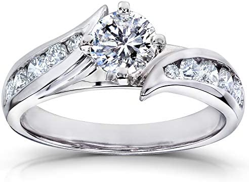 Kobelli Round Diamond Engagement Ring 1 CTW in 18k White Gold