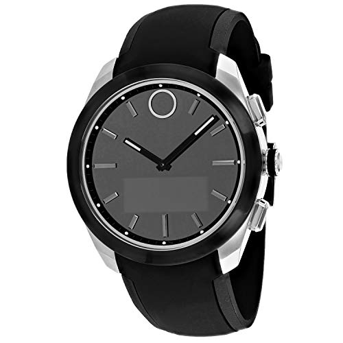 Movado Bold Connected II Stainless Steel Quartz Watch with Silicone Strap, Black, 21 (Model: 3660012)