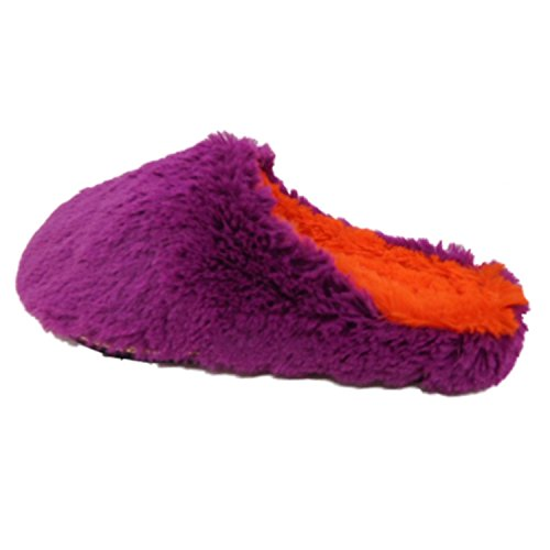 DF by Dearfoams Purple Orange Faux Fur Pile Scuff Slippers Slide-On House Shoes iWKyBQoE47