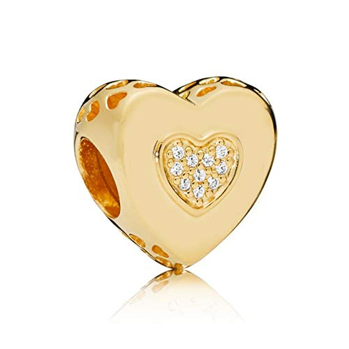 (Calvas Silver/Rose/Shine Signature Heart Charms Beads Fit Original Bracelet 100% Real 925 Sterling Silver Logo Charm Beads DIY Jewelry - (Color: Gold))