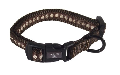 Hamilton Pixie Pet Classic Collection Fashion Adjustable Dog Collar, 3/8-Inch, Pewter, Brown - Fae 7 Dog Collar
