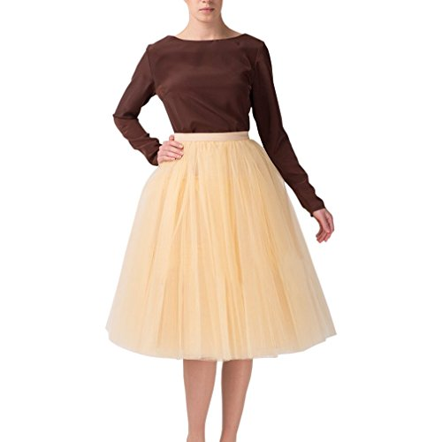 en's A Line Short Knee Length Tutu Tulle Prom Party Skirt Medium Champagne ()