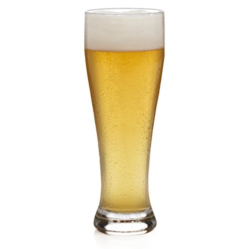 Libbey Giant Beer Glass Set, 6-22.5 ounce Wheat Beer Glasses, 9.25 inch height, (Tall Pilsner Glass Set)