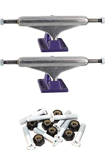"""INDEPENDENT Stage 11-144mm Hollow Standard Silver/Anodized Purple Skateboard Trucks - 5.67"""" Hanger 8.25"""" Axle with 1"""" White Hardware"""