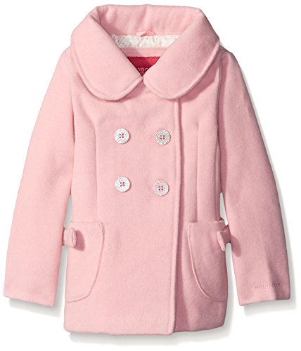 London Fog Little Girls' Faux Wool Peacoat with Bow Pocket, Pink, 3T