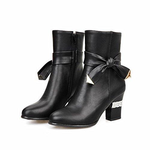 Closed Round Heels Toe Mid top Materials Boots Blend Black AmoonyFashion Kitten Women's gqHtII