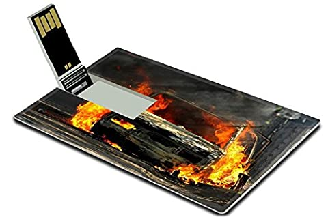 Luxlady 32GB USB Flash Drive 2.0 Memory Stick Credit Card Size Delivery type vehicle on side of road burning with large flames and smoke Car IMAGE (Exploding Smoke Bombs)