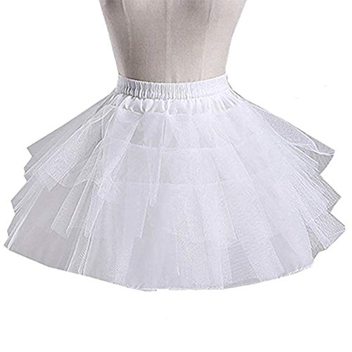 Kumeng Kids White Mini 3 Layers Wedding Flower Girl Petticoat/Underskirt/Crinoline Slips (White) -