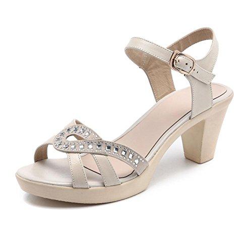 QL@YC Damen Sandalen Sommer Leder Soft Ground Lässige anti Skid High Rugged Damen Kleid Sandalen , white , 37