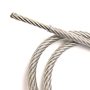 4ft Custom Cut Clear PVC Coated GALVANIZED Steel Wire Rope Cable 1/8 inch Core Diameter 7x19 Strand 3/16 inch Overall with 2x SST Sleeve Moderate Corrosion Resistance cable breaking strength 2000lbs