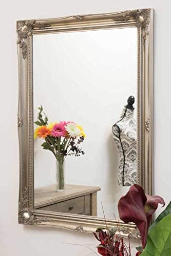 3Ft6 X 2Ft6 106cm X 76cm Large Silver Antique Ornate Design Big Wall Mirror New