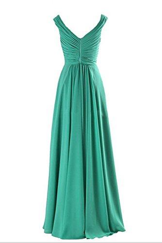 Royalblau Damen Ivydressing Chiffon Abendkleider Neu V Falte Abendmode Mutterkleider Lang Neck avdqvC