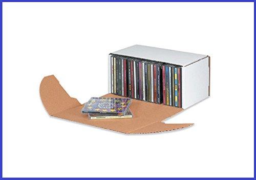 BoxYeah 50 Pack - White Corrugated CD Mailer Shipping Sto...