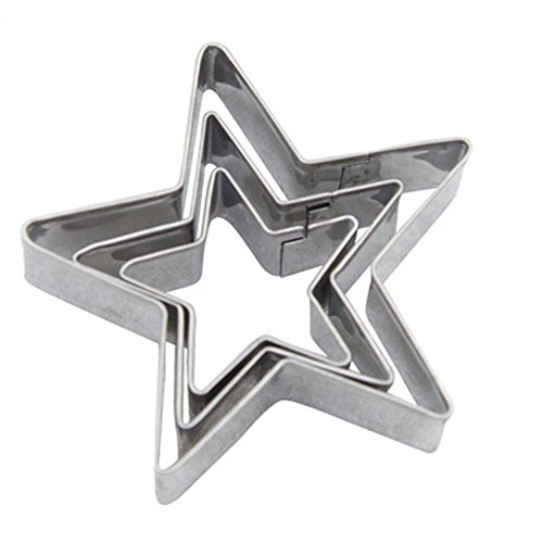 LRZCGB Cookie Cutter Shape Heart Star Flower Decorating Mold Kitchen Stainless Steel Bakeware Tools (Star)