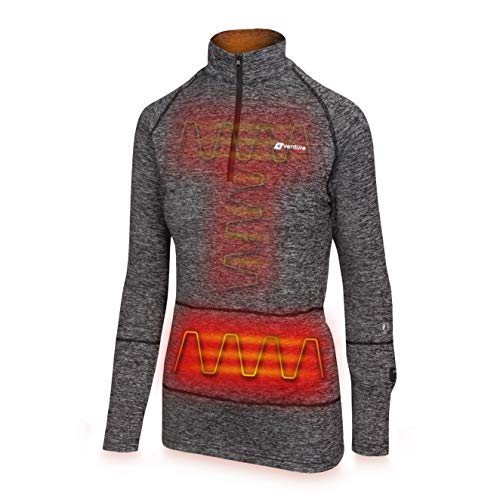 Venture Heat Women's Heated Shirt Thermal Underwear with Battery Pack - Long John, 1/4 Zip Electric Base Layer, Nomad (M, Charcoal) (Best Women's Heated Jacket)