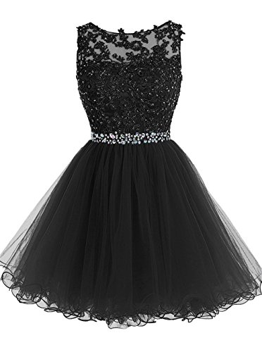 Beaded Short Dress Little Black Dress (SHANGSHANGXI Sweet 16 Dresses Ball Gown Short Tulle Keyhole Back Black Prom Dress,6)