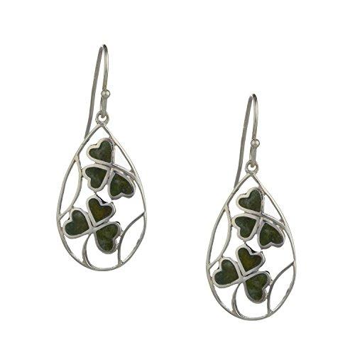 Silver Connemara Marble - Shamrock spray Sterling Silver Connemara Marble Earrings