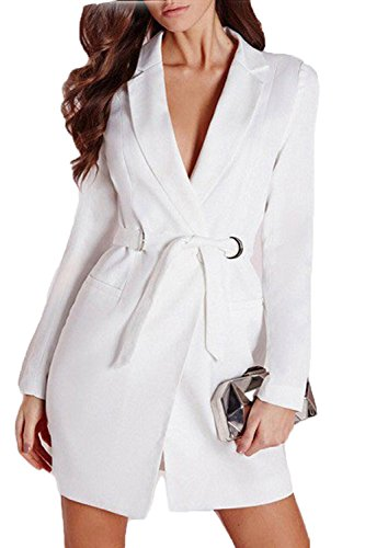 Women+Elegant+Lapel+Plunge+Neck+Belt+Jacket+Blazers+Mini+Dress+Long+Suiting+Coat