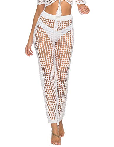 (Julier White Long Beach Pants Travel Cover Up Mesh Knitted Bathing Suit Beawear Swimsuits Pants)