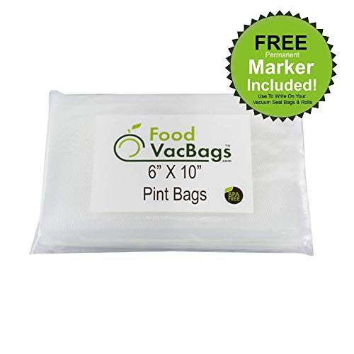 50 6X10 Pint Size FoodVacBags 4 mil Vacuum Sealer Bags compatible with FoodsaverTM Machines -