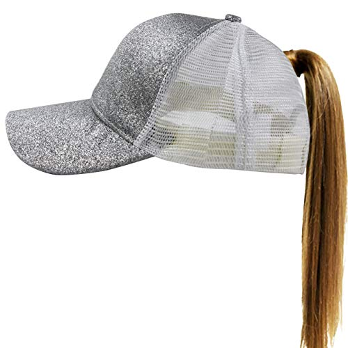 Muryobao Womens Ponytail Baseball Cap Messy High Bun Ponycap Adjustable Snapback Summer Sun Hat Glitter Plain Trucker Dad Hat Mesh Silver ()