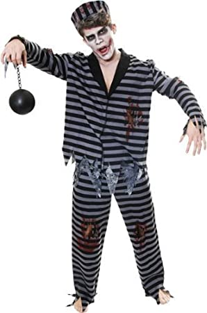 Zombie Gymnast Halloween Costume.Adult Zombie Prisoner Jail Convict Halloween Fancy Dress Costume Outfit V36319