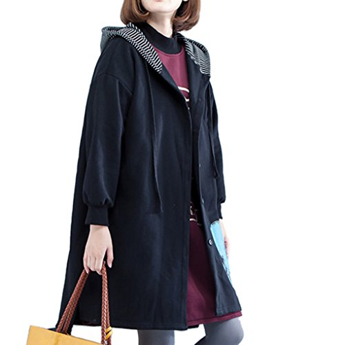 YunPeng Womens Diverse Large Size Thickening Loose Jacket Coat Trench Coat Black1