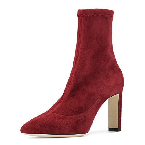 XYD Retro Ankle Booties Pointy Toe Faux Suede Dress Shoes Solid Chunky Heel Boots For Women Red on hot sale buy cheap the cheapest kYwlSb