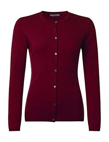(Great & British Knitwear Ladies HP302 100% Cashmere Round Neck Golfer Cardigan. Made in Scotland-Claret-Medium)