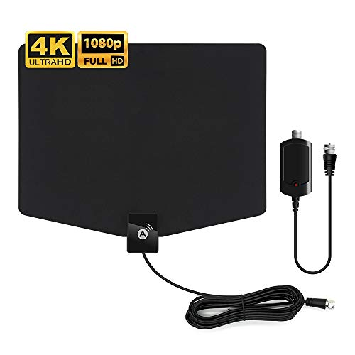 HDTV Antenna,[2020 Latest] Indoor Digital TV Antenna 120+ Miles Long Range with Support 4K 1080p & All Older TV's Indoor Powerful HDTV Amplifier Signal Booster – Coax Cable/USB