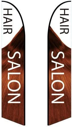 Double-Sided, Poles and Spike Base Included - Style 4 10ft Feather Banner Hair Salon