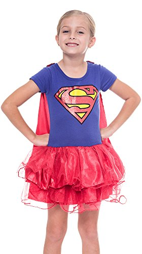 Girls Superhero Supergirl Caped Tutu Costume Dress (Supergirl, Small 6/6X) (Supergirl Tutu Kids Costumes)