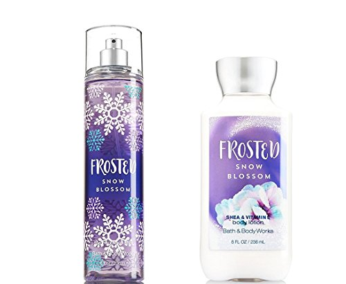 Bath and Body Works Frosted Snow Blossom Fragrance Mist and Lotion Set Full Size Winter (Snow Blossom)
