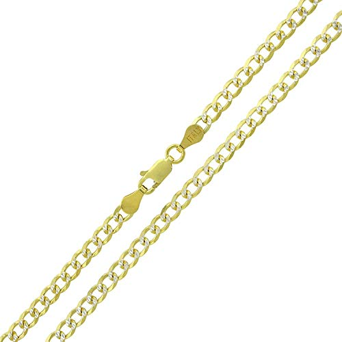 Sterling Silver Italian 3.5mm Cuban Curb Link Diamond Cut Two-Tone Pave ITProLux Solid 925 Yellow Gold Necklace Chain 16