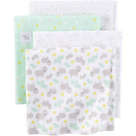 Child of Mine Newborn Baby Flannel Receiving Blanket, 4pk, G