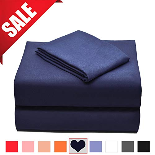 Allo Microfiber Sheet Set, Soft and Breathable Bed Set, Wrinkle, Fade, Hypoallergenic and Stain Resistant - 3 Piece (Navy, King)