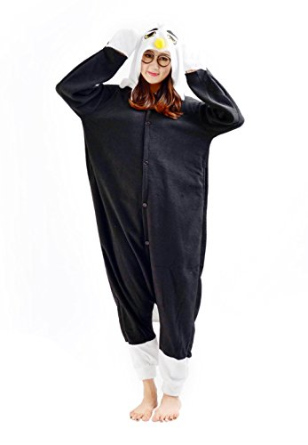 [Honeystore Unisex Animal Costumes Adult Cosplay Lounge Wear Pajama One Piece Black M] (Sixties Costumes Ideas)