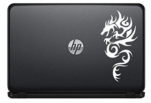 Dragon Silhouette Left Version 3 Vinyl Decal Sticker for Computer Macbook Laptop Ipad Electronics Home Window Custom Walls Cars Trucks Motorcycle Automobile and More (WHITE) (Christmas Present Black White Clipart)