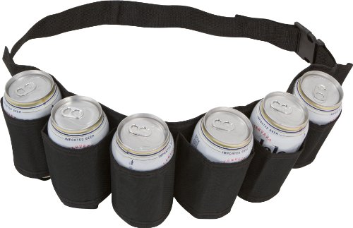 EZ Drinker Beer & Soda Can Holster Belt 6 Pack (Black Design) -