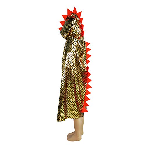 Deluxe Kids Girls Boys Hooded Dragon Cloak Halloween Christmas Fancy Cape Cosplay Costumes -