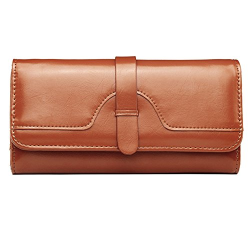 SLOVE Womens Leather Wallet Card Holder Zipper