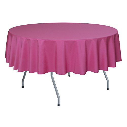 Ultimate Textile 60 Inch Round Polyester Linen Tablecloth Hot Pink