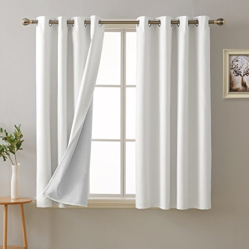 Deconovo 100 Percent White Blackout Curtains with 3 Pass Ene